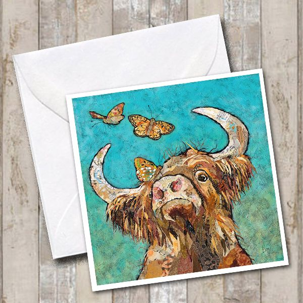 Highland Cow & Butterflies Art Greetings Card