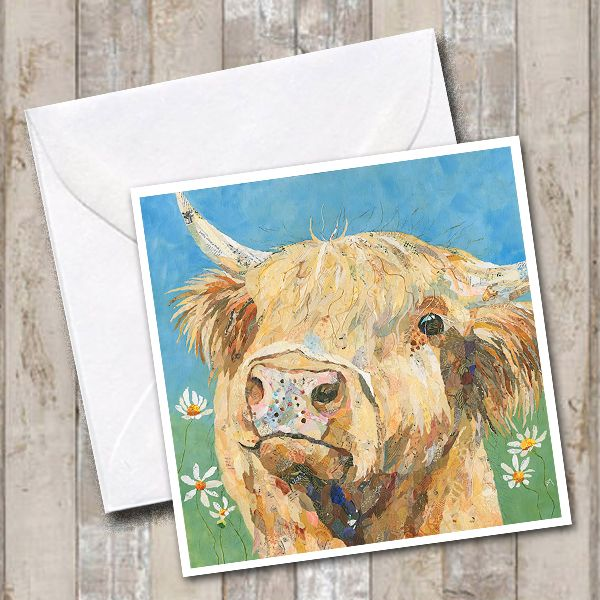 Highland Cow Scottish Art Greetings Card