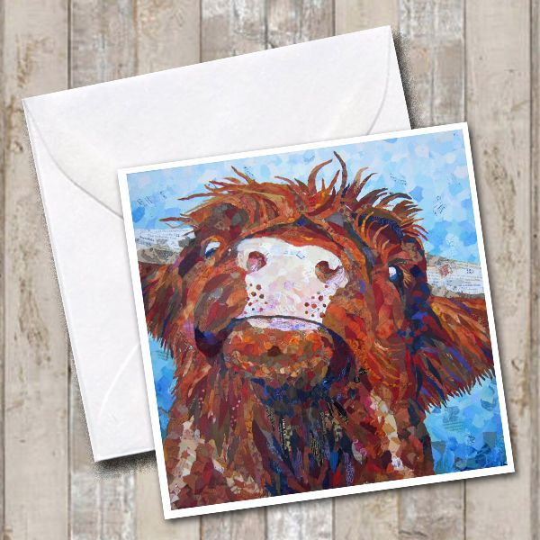 Highland Cow Torn Paper Art Greetings Card