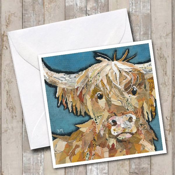 Highland Cow Art Greetings Card