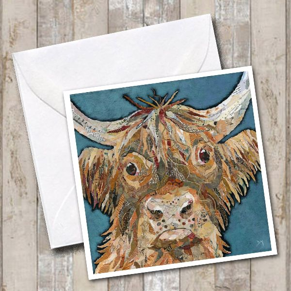 Bruce Highland Cow Square Art Greetings Card