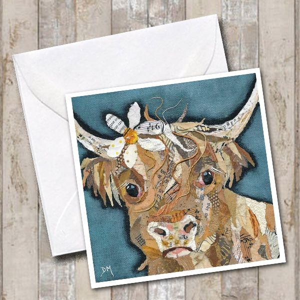 Highland Cow with Daisy in her Hair Art Greetings Card