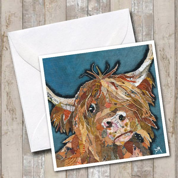 Angus Highland Cow Art Greetings Card