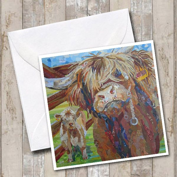 Highland Cow and Calf Art Greetings Card