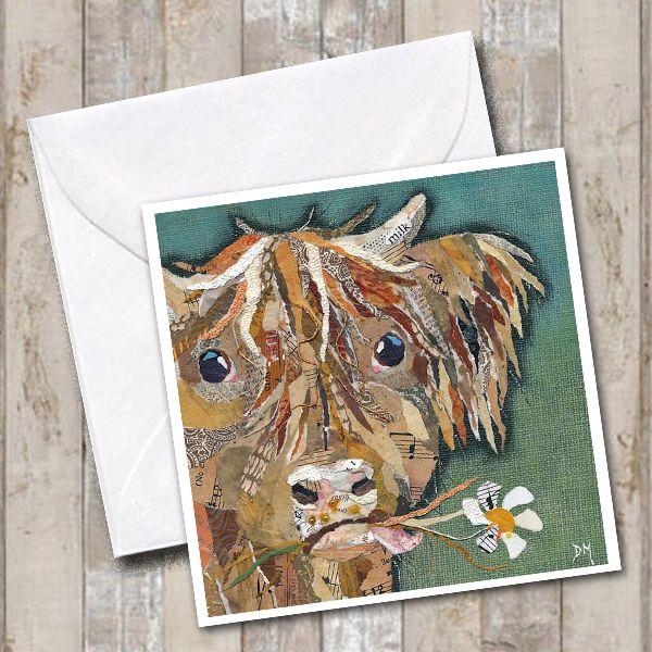 Highland Cow eating Daisy Art Greetings Card