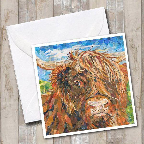 Archie Highland Cow Square Art Greetings Card