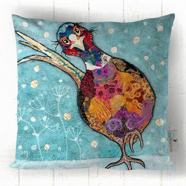Pheasant in Snow Printed Art Cushion