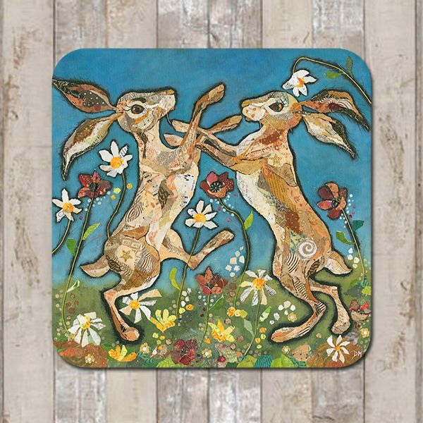 Boxing Hares Coaster Tablemat Placemat