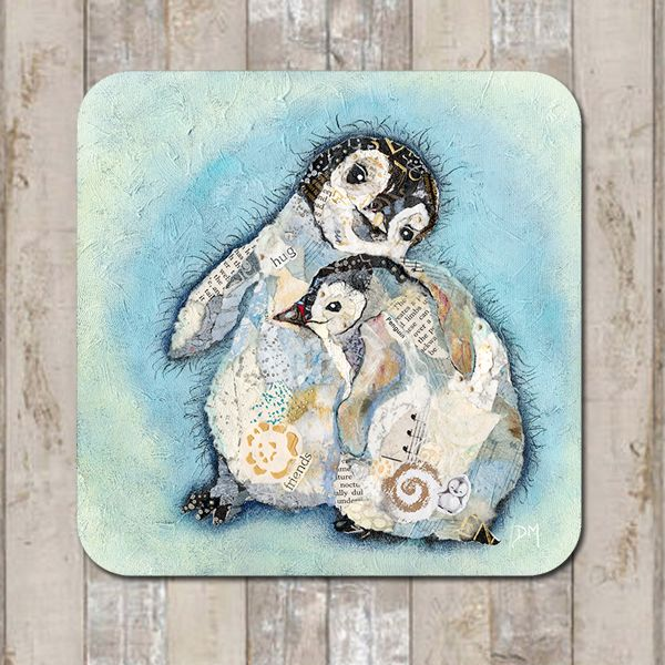 Baby Penguins Hugging Coaster Tablemat Placemat