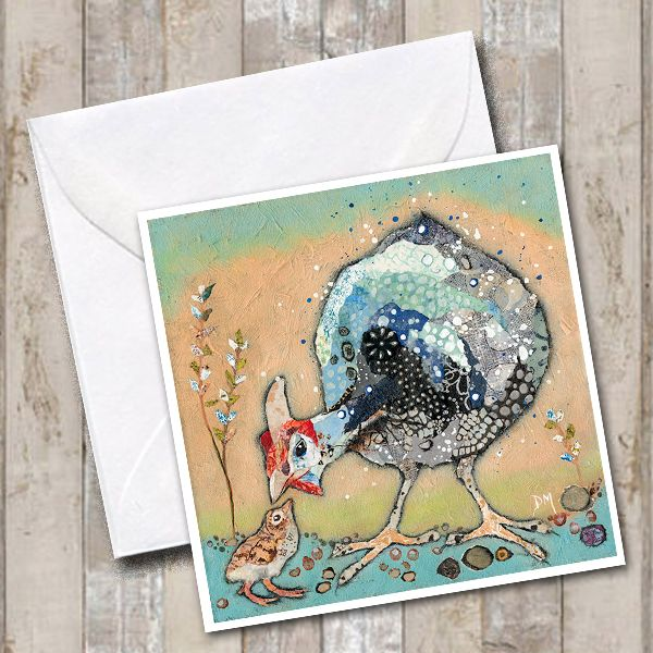 Guinea Fowl Art Greetings Card