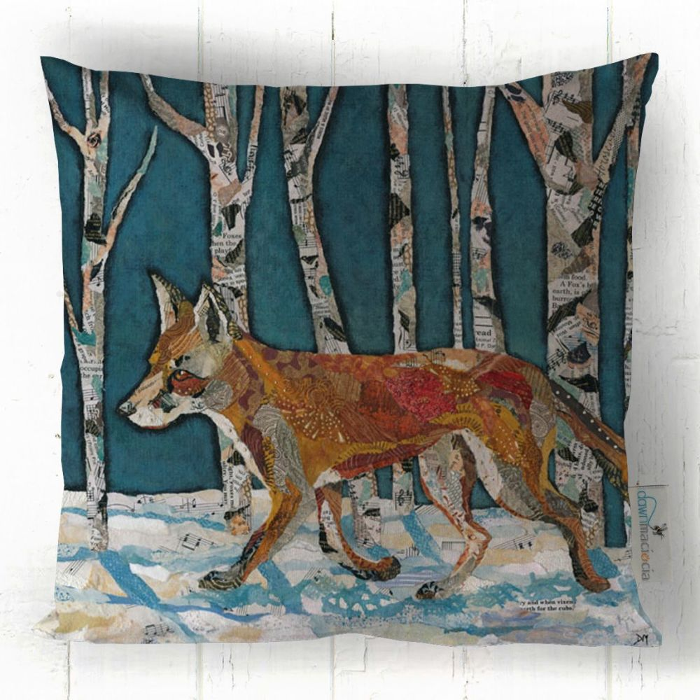 Fox Walking through Snowy Forest Cushion