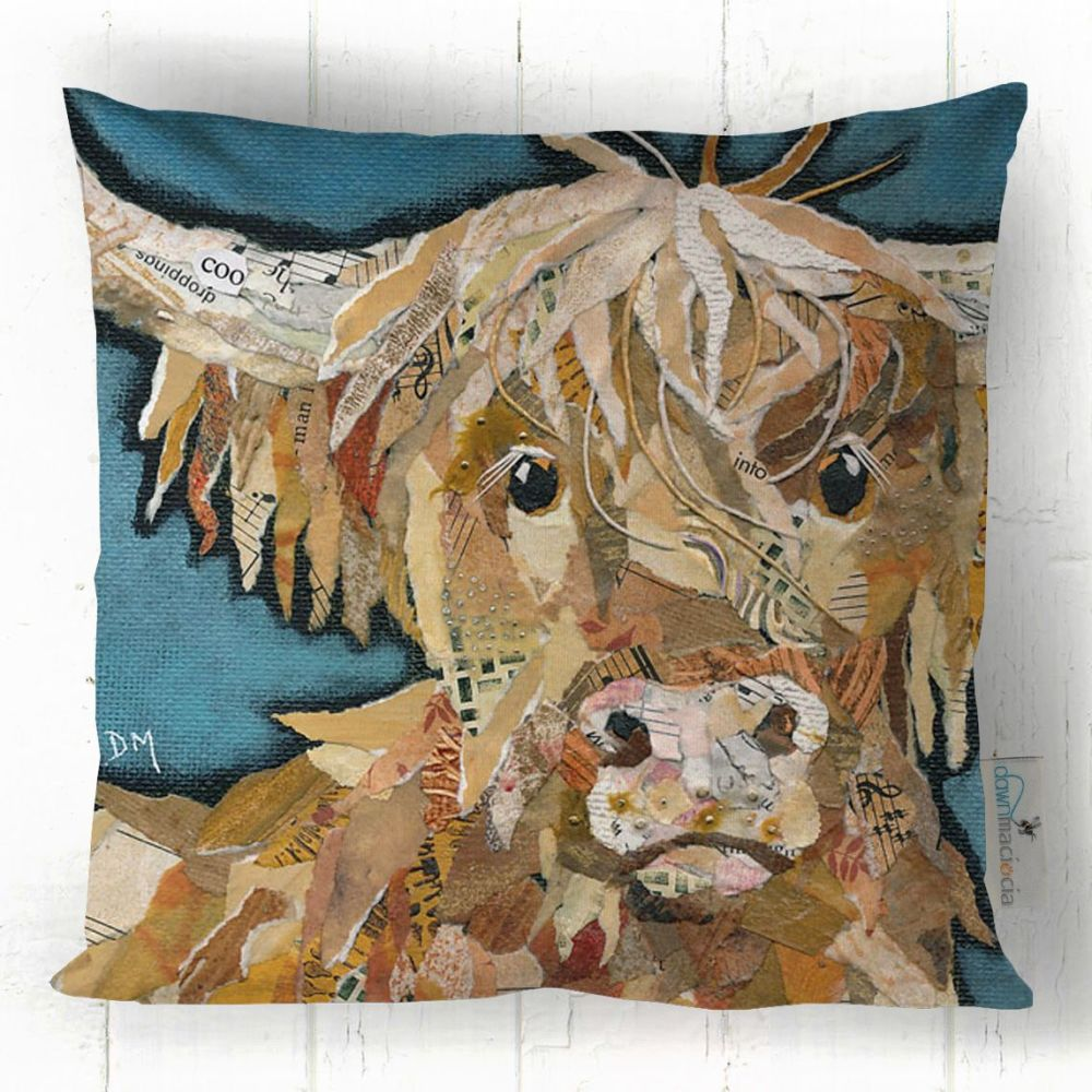 Maggie Highland Cow Printed Cushion