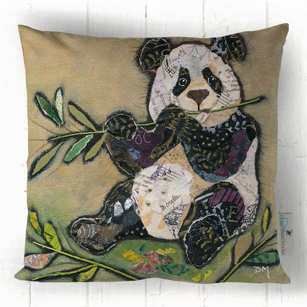 Panda Bear Eating Bamboo  Printed Cushion