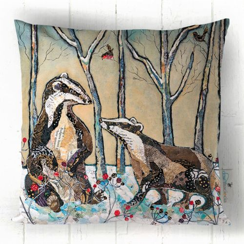 Badgers in Winter - Cushion
