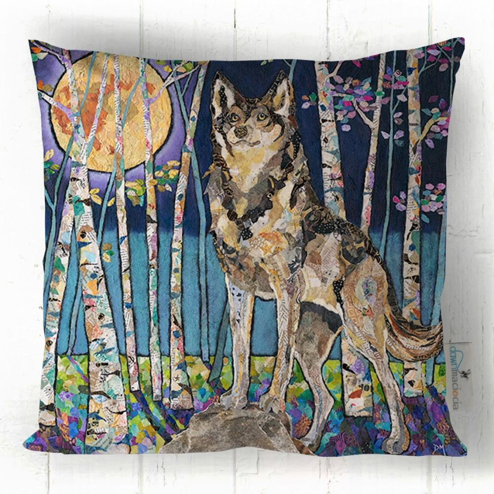 Wolf in Moonlit Forest Art Cushion