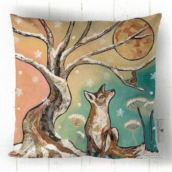 Moonlit Meeting -Fox & Moon Cushion