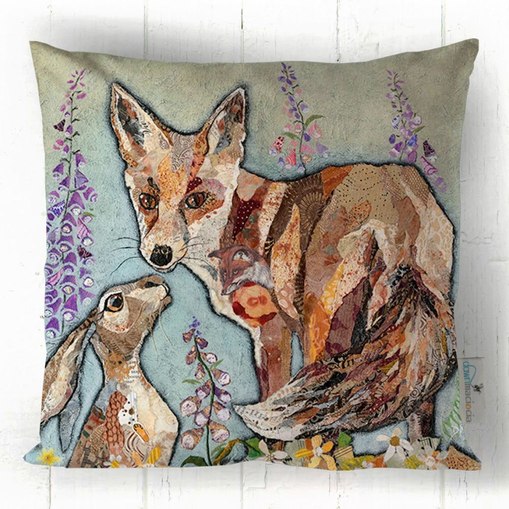 Fox and Hare Friends Art Cushion