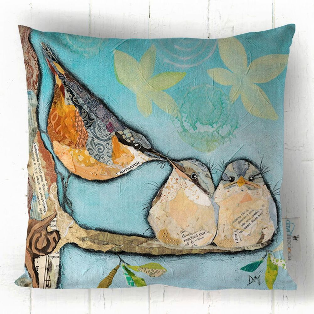 Nuthatch and Chicks Art Cushion