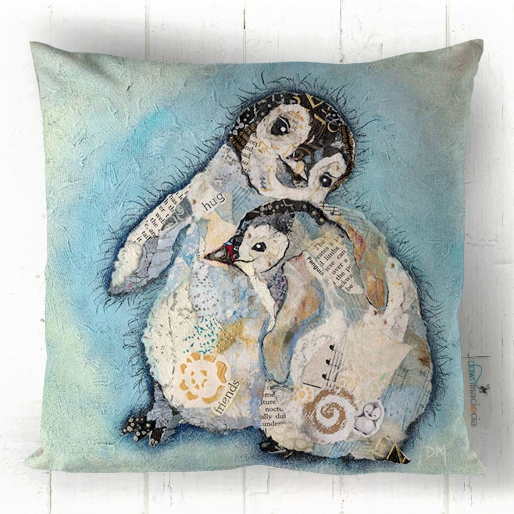 Two Baby Penguins Hugging Art Cushion
