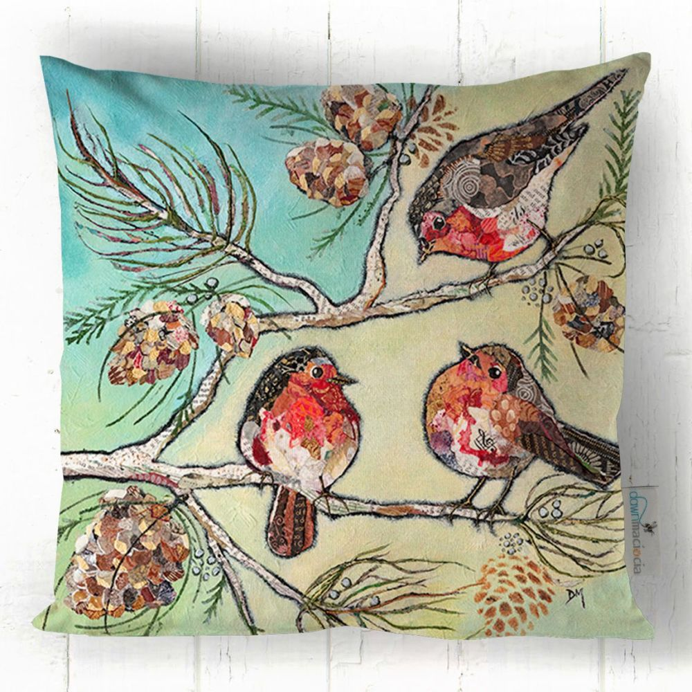 Three Robins Printed Art Cushion