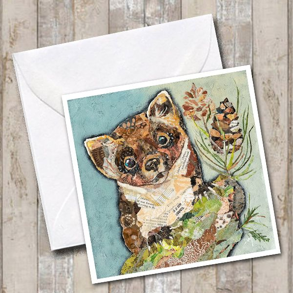 Pine Marten with Pine Cones Art Greetings Card