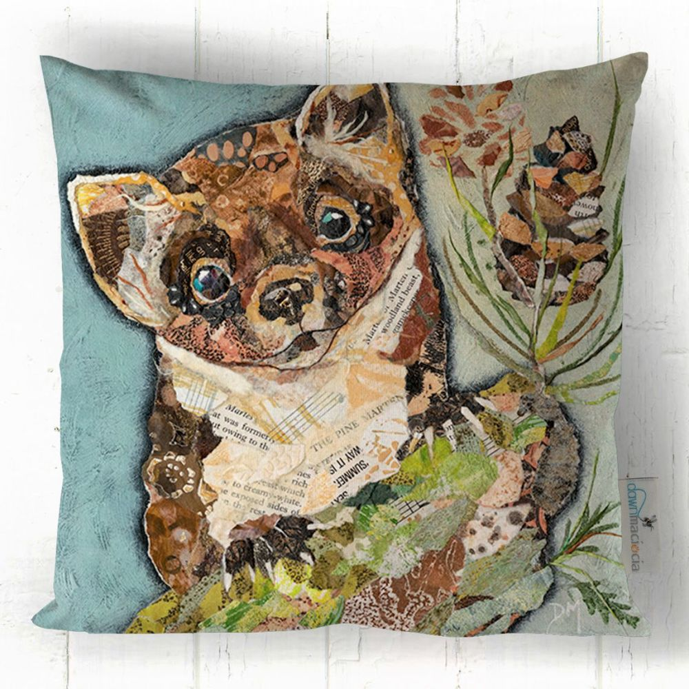 Pine Marten Art on Printed Cushion