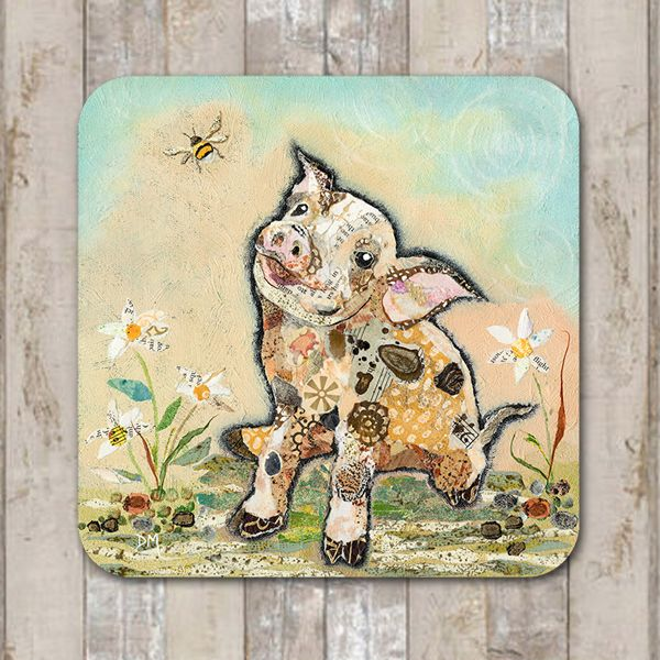 Pig and Bumblee Bee Coaster Tablemat Placemat