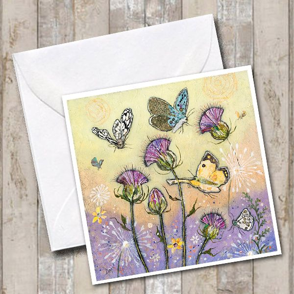 Butterflies and Thistles Card