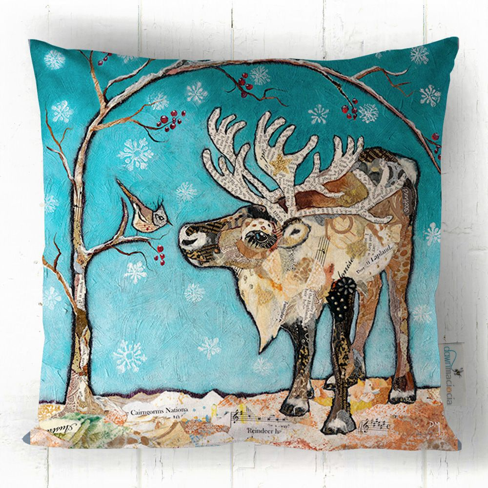 Reindeer & Bird in Snow Art Cushion