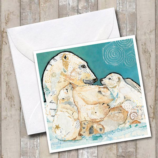 Polar Bear and Cubs Art Square Greetings Card