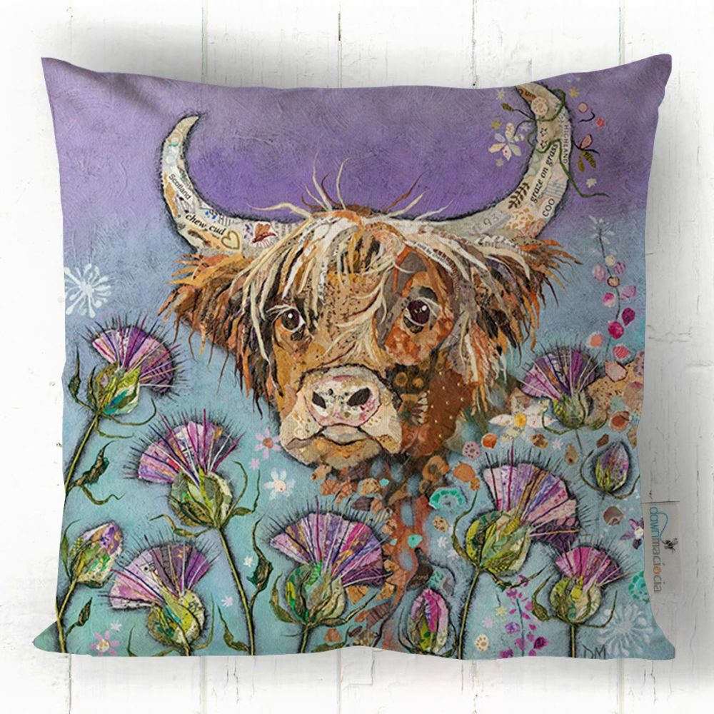 Highland Cow and Thistles Art Cushion