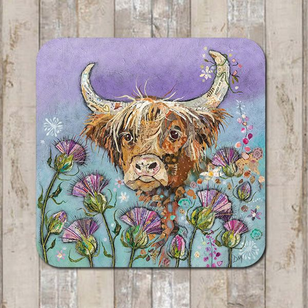 Highland Cow and Thistle Coaster Tablemat Placemat