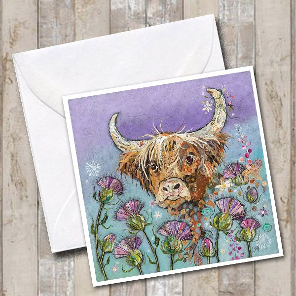 Highland Cow and Thistles Scottish Art Greetings Card