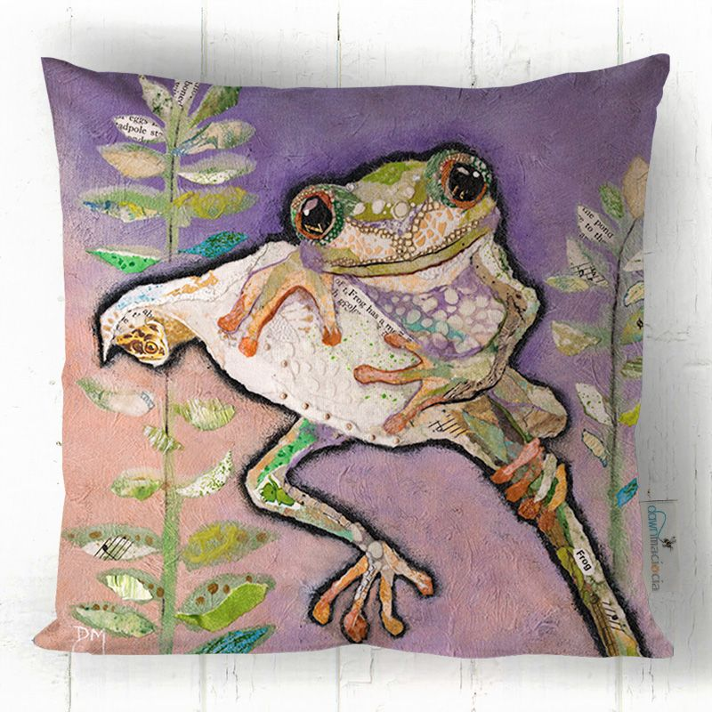 Tree Frog on Flower Art Cushion