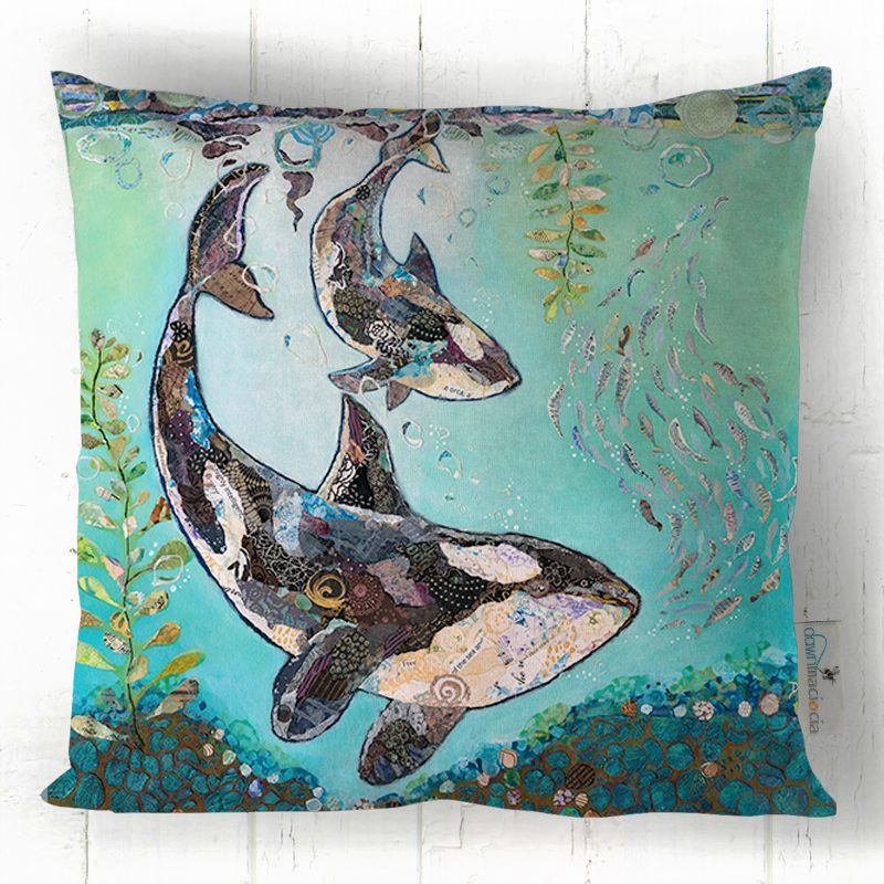 Orca Killer Whale and Calf Cushion