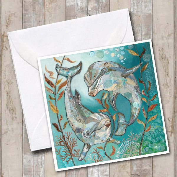 Two Dolphins Swimming with Teal Underwater Scene Art Greetings Card
