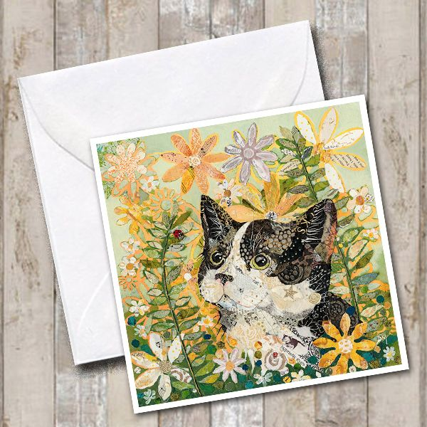 Black and White Cat  Hiding in Flowers Art Greetings Card