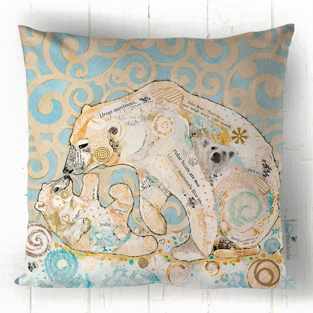 Polar Bear and Cub Printed Cushion