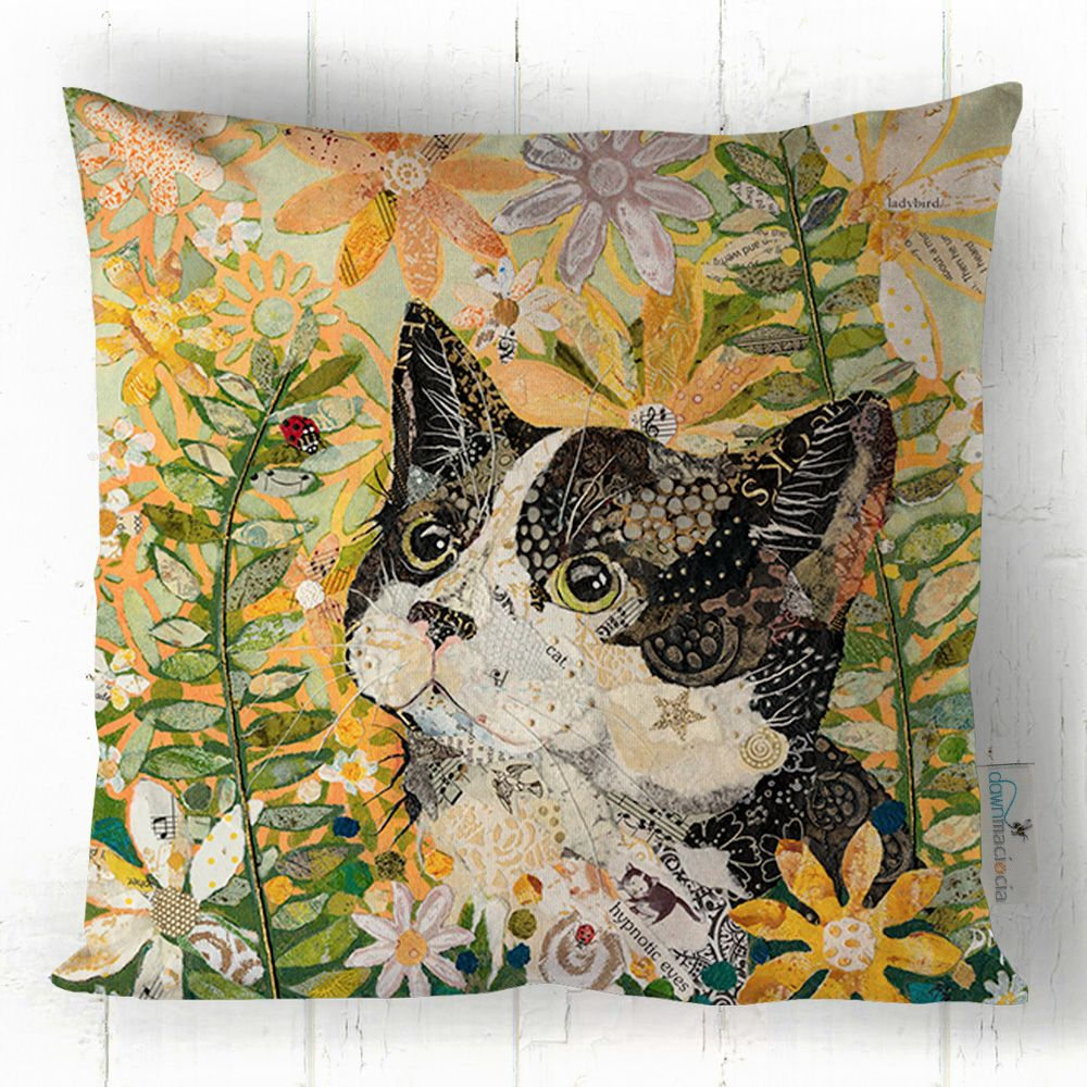 Black Cat and Flowers - Cushion