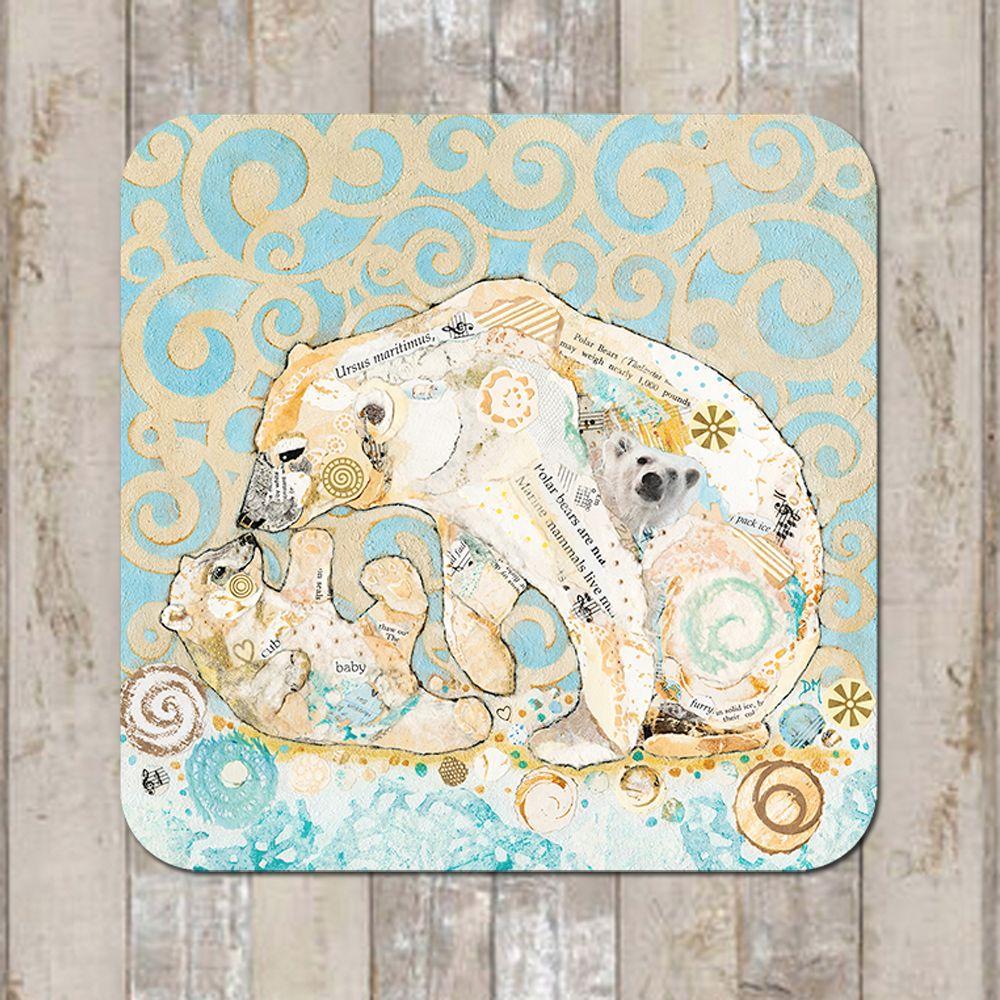 Polar Bear Kiss Coaster Tablemat Placemat