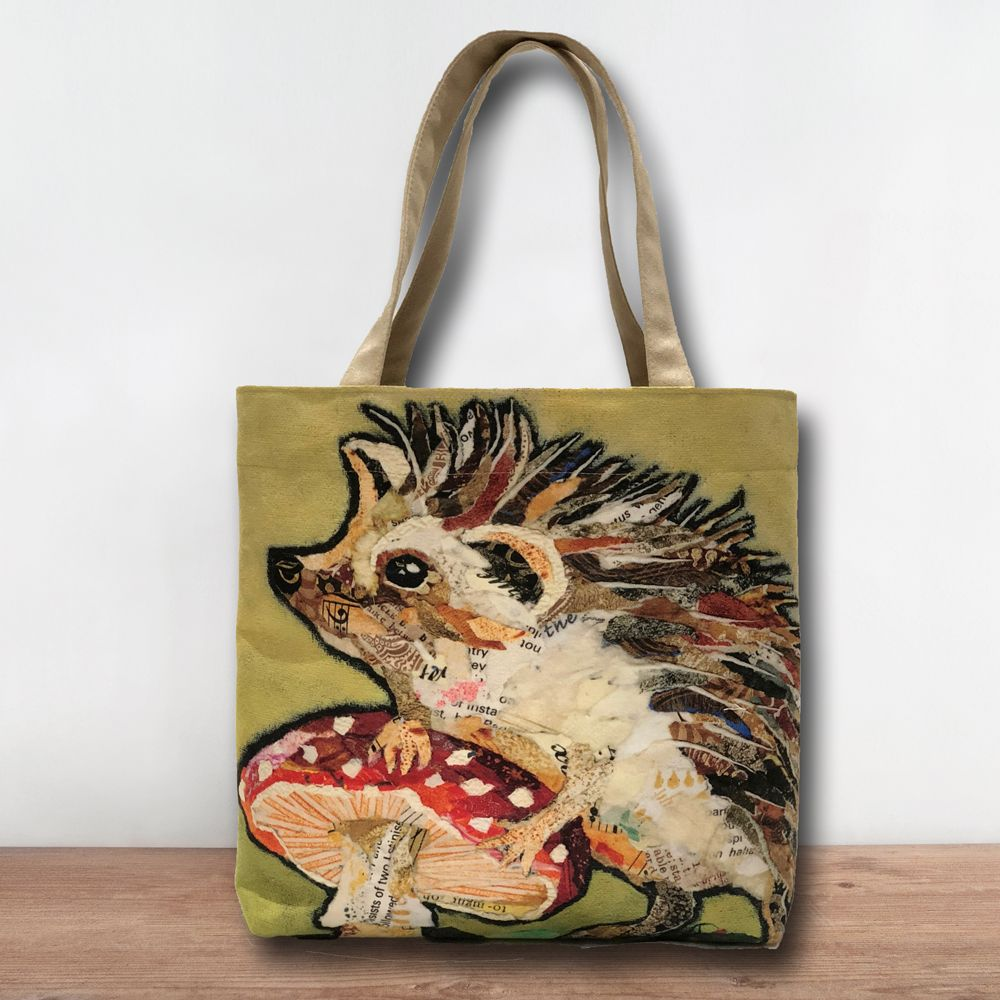 Hedgehog & Toadstool Tote Shopper Bag