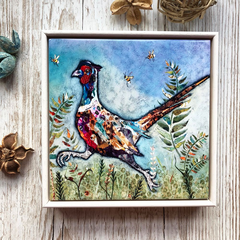 Running Pheasant Framed Ceramic Tile