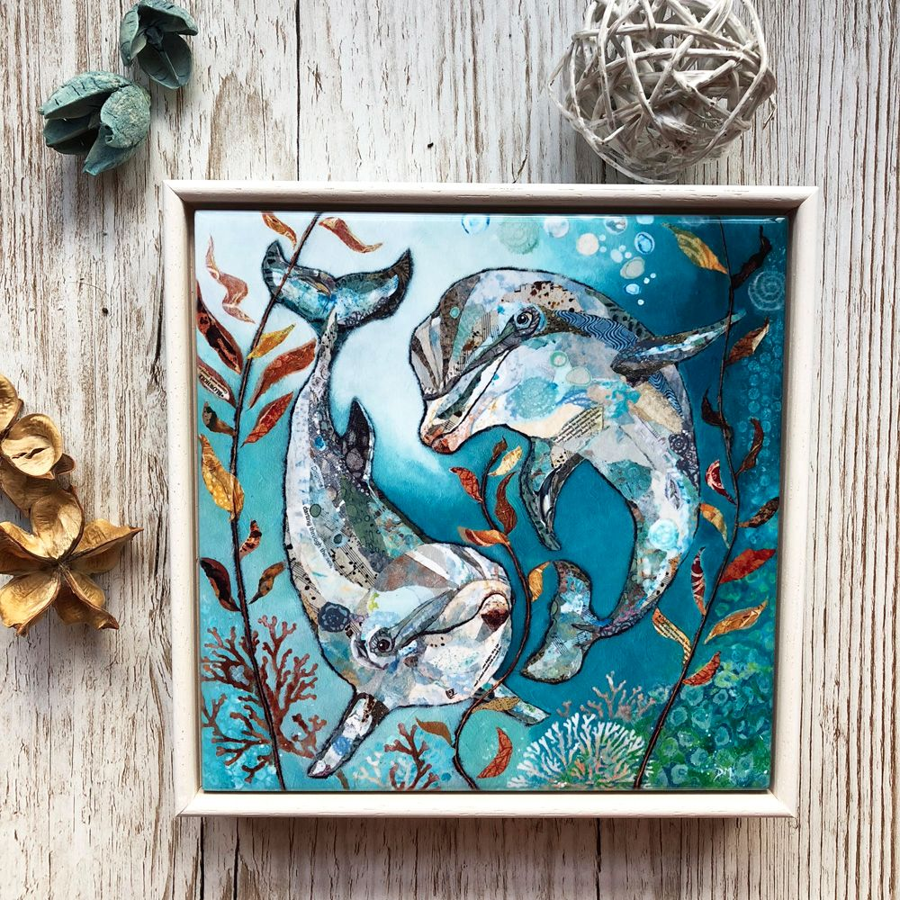 Dolphin Framed Ceramic Art Tile