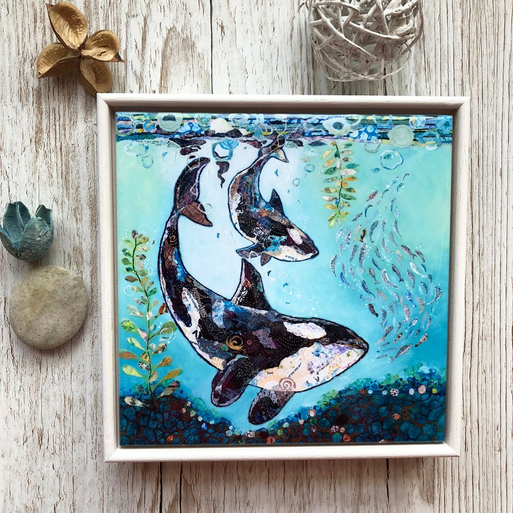 Orca Killer Whale Framed Ceramic Tile