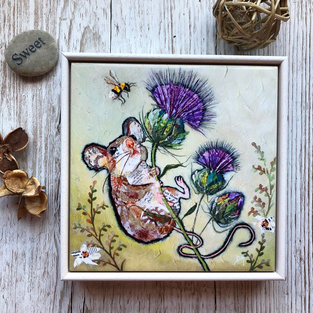 Mouse and Thistle Framed Art Tile