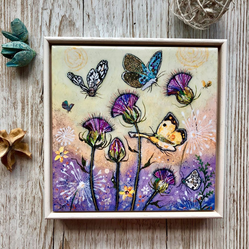 Thistle and Butterflies Art Tile