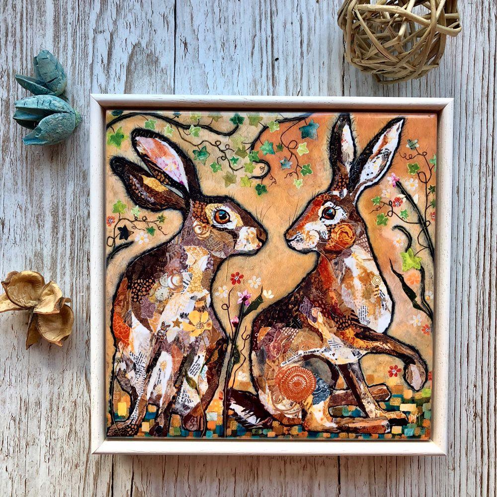Hare Decorative Art Tile Framed