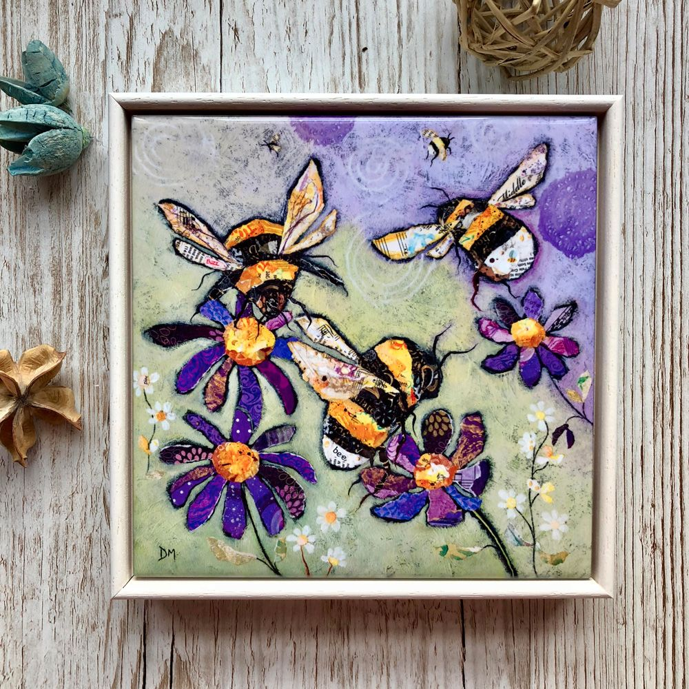 Bumble Bee Decorative Art Tile Framed