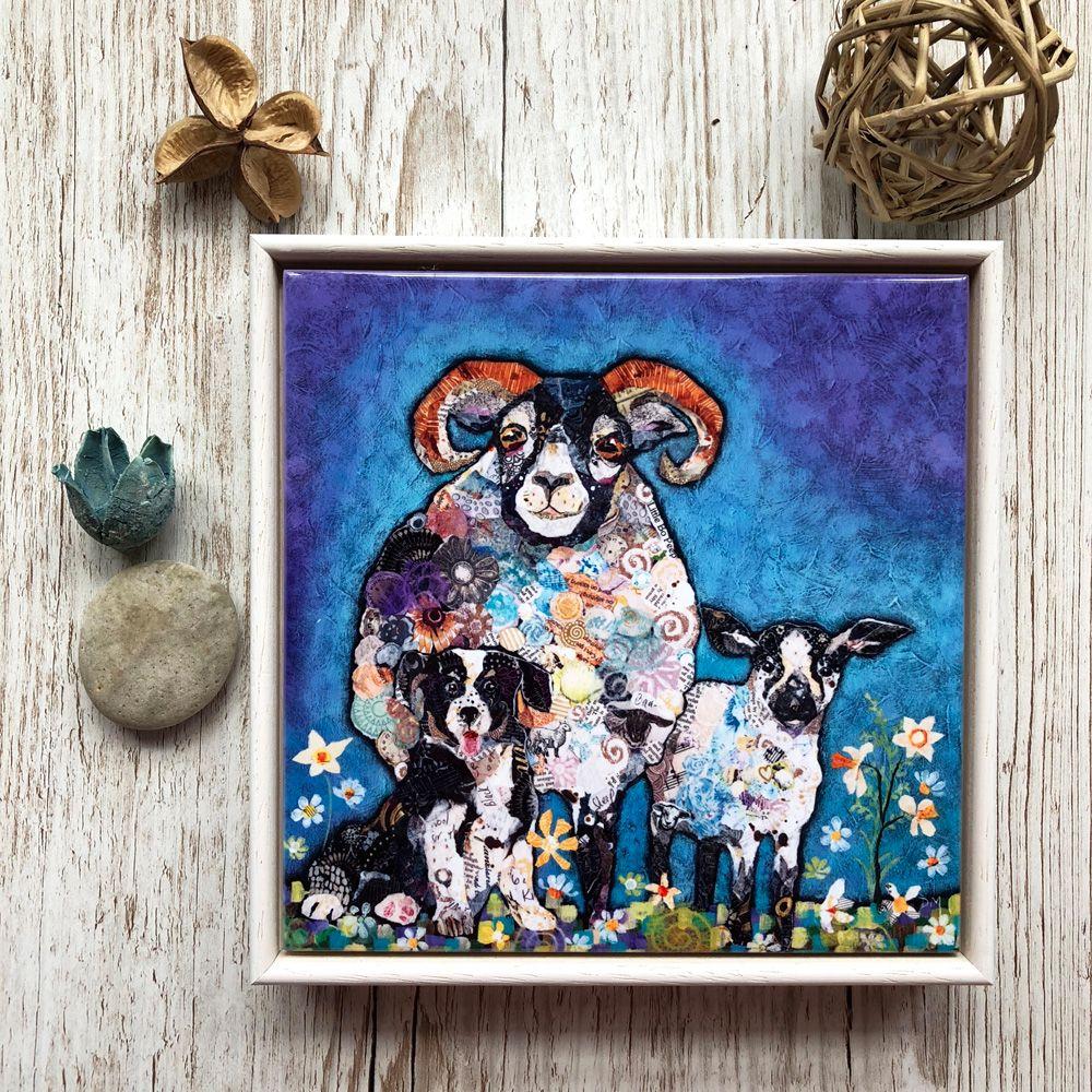 Sheep, Lamb and Dog Farm Art Tile