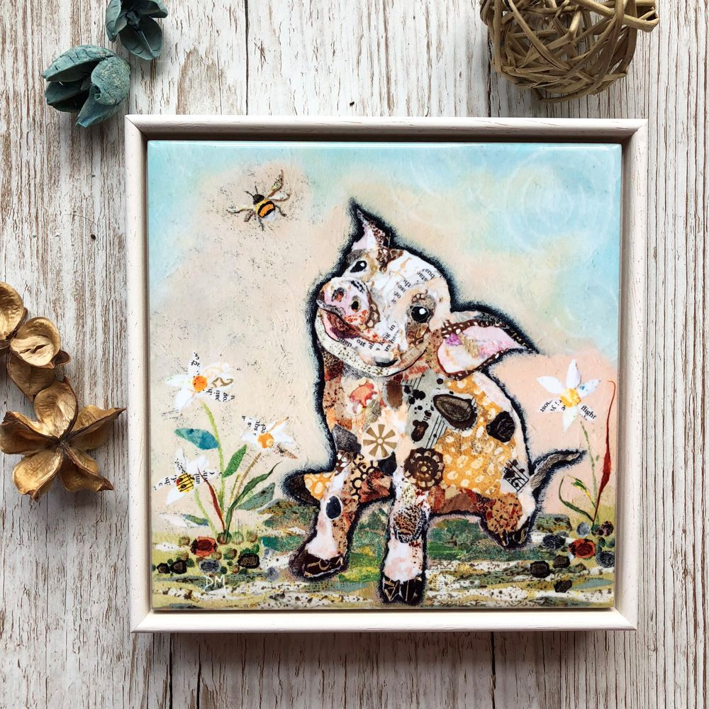 Pig and Bee Decorative Art Tile Framed